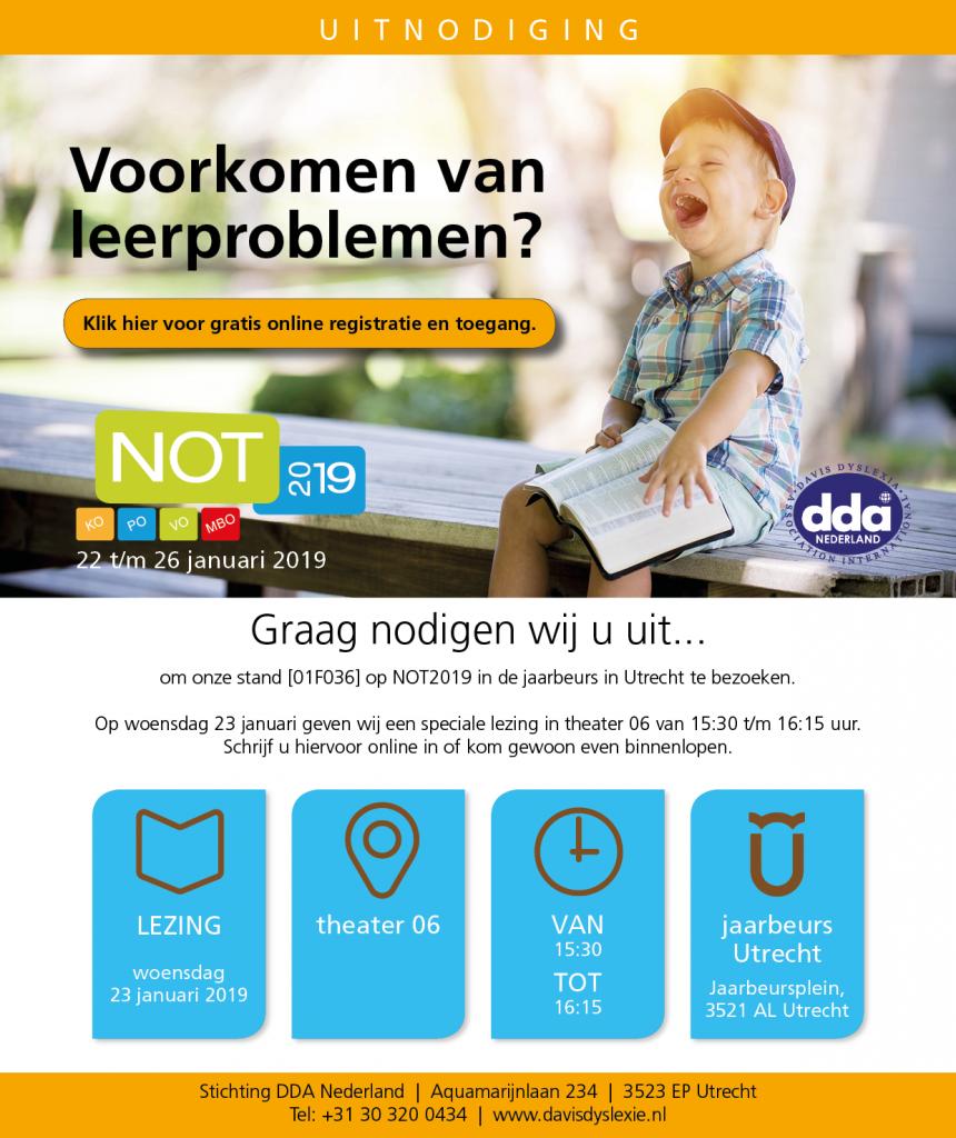 Uitnodiging NOT van DDA Nederland en de Davis-methode voor een lezing over het voorkomen van leerproblemen.
